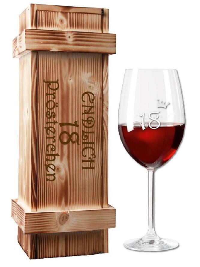 Rotwein-Set in der Holzkiste