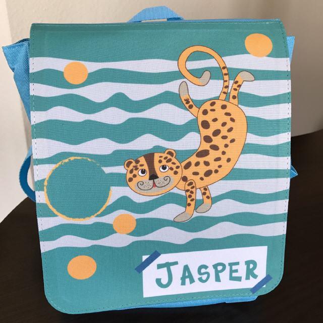 Kinderrucksack mit Tiger in blau/ türkis